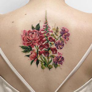 Flower tattoo by Deborah Genchi #DeborahGenchi #rosetattoos #color #realism #realistic #watercolor #rose #flowers #floral #nature #tattoooftheday