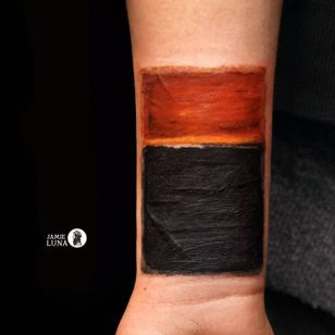 Rothko scar cover up tattoo by Jamie Luna #JamieLuna #CoverUpTattoos #color #MarkRothko #famouspainting #painting #colortheory #scarcoverup #depression #mentalhealthawareness #tattoooftheday