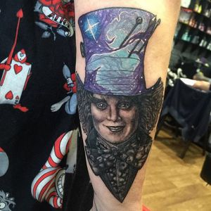 Mad Hatter Tattoo by Joe Phillips #madhatter #galaxy #space #cosmic #abstract #spaceage #JoePhillips