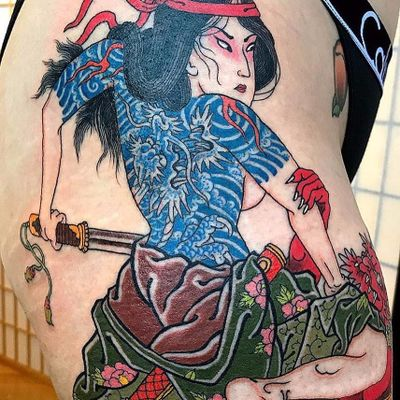 Woman in power by Colin Baker at State of Grace Tattoo #stateofgracetattoo #ColinBaker #Japanese #warrior #color #dragon #Oni #kimono #peony #clouds #fire #sword #lady #woman #tattoooftheday