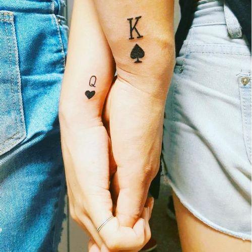 King and Queen couple tattoos via @hernameisnyamka on Instagram #coupletattoo #coupletattoos #matchingtattoos #romantic #tattooedcouple #lovetattoos #Kingofspades #Queenofspades