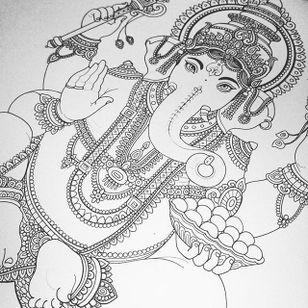 An incredible Ganesha tattoo design by Flo Nuttall (IG—flonuttall). #design #FloNuttall #Ganesh #ornate