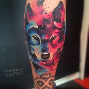 Watercolor Galaxy Wolf Tattoo by Pablo Oritz #WatercolorGalaxy #WatercolorGalaxyTattoo #Galaxy #GalaxyTattoos #WatercolorTattoos #Watercolor #Space #WatercolorSpaceTattoo #PabloOritz #wolf