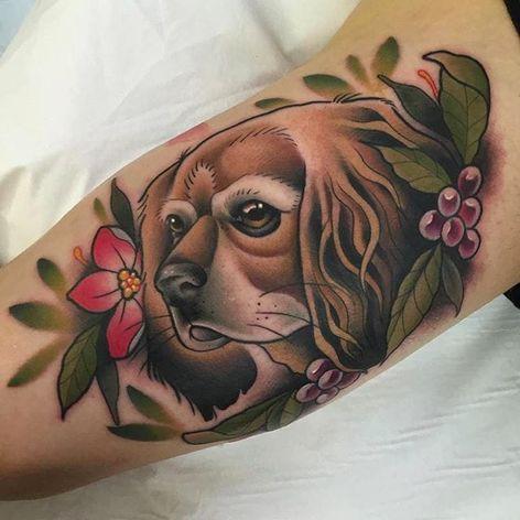 Cute and delicate dog portrait tattoo by Alvaro Alonso. #AlvaroAlonso #NeoTraditional #animaltattoo #MalibuTattooSpain #dogportrait