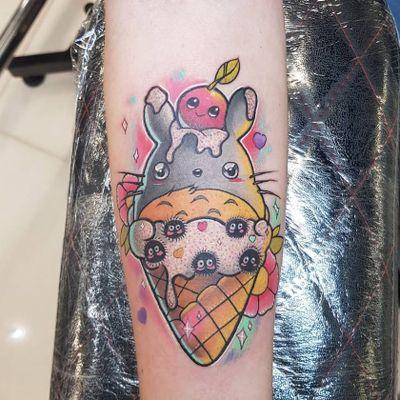 Totoro ice cream tattoo by Sam Andrews #SamAndrews #studioghiblitattoo #color #newtraditional #anime #manga #movietattoo #Totoro #sootsprite #foodtattoo #icecream #sparkle #flowers #hearts #cherry #cute