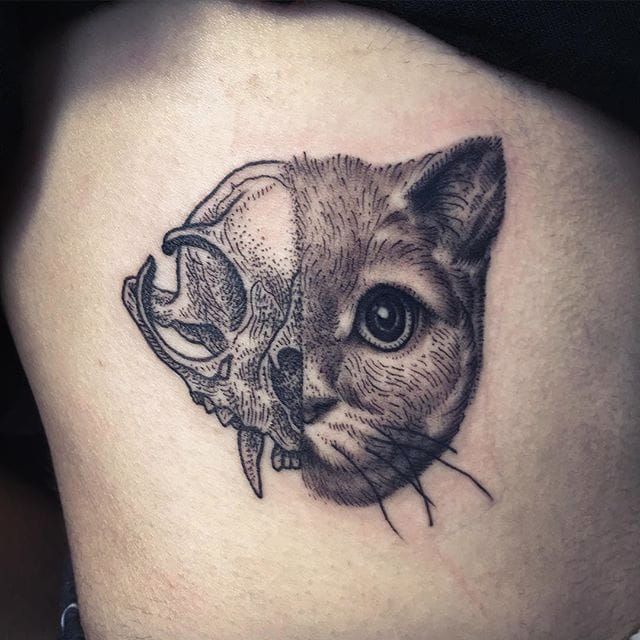 Blackwork animal half-portrait by Jared Asalli. #JaredAsalli #SoutheastAsia #Singapore #cat #animalskull #halfportrait #half #halftattoo