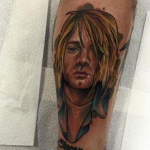 Kurt Cobain Tattoo by Brenden Jones #KurtCobain #NeoTraditional #NeoTraditionalPortrait #Portrait #PopCulture #BrendenJones