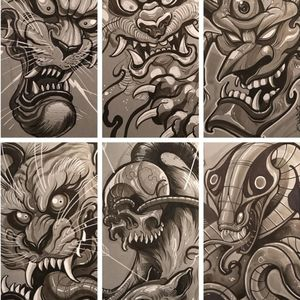 A collage of several of Dave Tevenal's black and grey illustrations (IG—davetattoos). #artshare #blackandgrey #DaveTrevenal #drawings #fineart #illustrations
