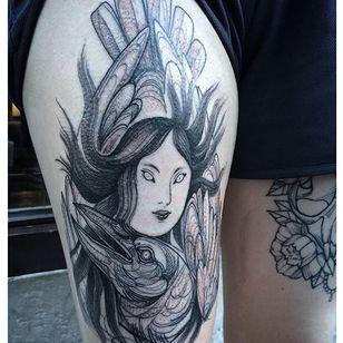 Blackwork tattoo by Nomi Chi. #NomiChi #blackwork #haunting #macabre #illustration #btattooing #blckwrk
