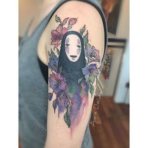 No Face tattoo by Aura Dalian. #noface #japanese #anime #studioghibli #spiritedaway #ghibli
