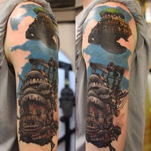 Howls Moving Castle Tattoo by Aaron King #howlsmovingcastle #howlsmovingcastletattoo #howlsmovingcastletattoos #studioghibli #studioghiblitattoo #anime #fantasytattoo #fantasytattoos #movie #animated #animatedtattoos #AaronKing