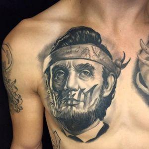 Gangsta Abraham Lincoln tattoo by Christian Boye Larsen #ChristianBoyeLarsen #chicano #realistic #blackandgrey #gangsta #portrait #lincoln #abrahamlincoln