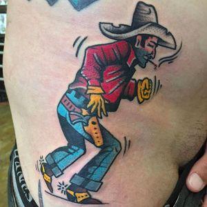 Running Cowboy Tattoo by Pancho #PanchosPlacas #Oldschool #Traditional #Cowboytattoo #cowboy