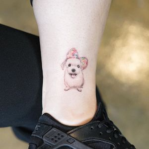 Tiny Pup by Nando Tattoo (via IG-nandotattooer) #tinytattoo #microtattoo #flora #fauna #NandoTattoo