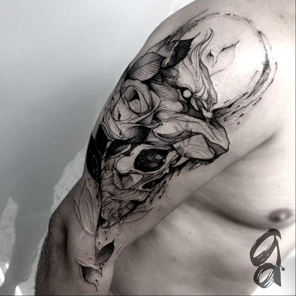 Leão e caveira. #GustavoAbreu #blackwork #fineline #sketch #TatuadoresDoBrasil #leao #lion #caveira #skull #flor #flower