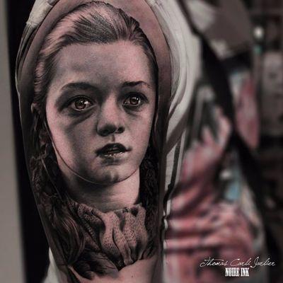A stunning portrait of Arya by Thomas Carli Jarlier #ThomasCarliJarlier #portrait #Arya #GameofThrones #photorealism #blackandgrey #realism #hyperrealism #portaiture #tattoooftheday