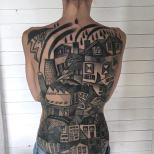 Cubist cityscape tattoo by Peter Aurisch #peteraurisch #architecturetattoos #blackandgrey #cubist #abstract #cityscape #rain #storm #lightning #house #home #city #street #bridge #smoke #building #tattoooftheday