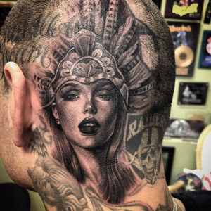 Aztec Goddess portrait by Chente #Chente #blackandgrey #oldschool #realism #realistic #hyperrealism #skullpiece #ladyhead #lady #portrait #Mayan #Aztec #crown #headdress #lips #eyes #tattoooftheday