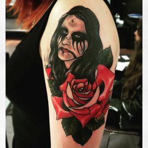 A brutal portrait. (Via IG - unclea) #neotraditional #blackmetal #uncleallan #portrait #rose