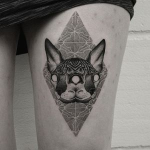 Hand poked and electric machine cojoined cat heat and dotwork design by Oliver Whiting. #blackwork #dotwork #cat #patterned #OliverWhiting