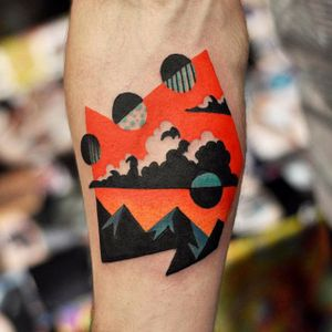Tattoo by David Cote @thedavidcote #space #color #uniquestyle #clouds #mountains