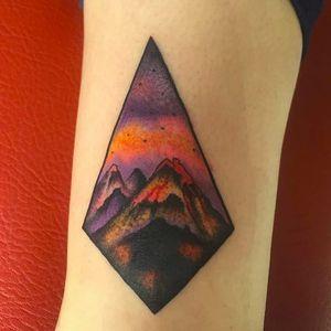 Volcano by Juan Hernandez (via IG -- juan_hernandez_tattoo) #juanhernandez #volcano