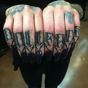 'Dollface' Tattoo by Dean James Mcleod #lettering #script #darklettering #blackwork #blacklettering #DeanJamesMcleod