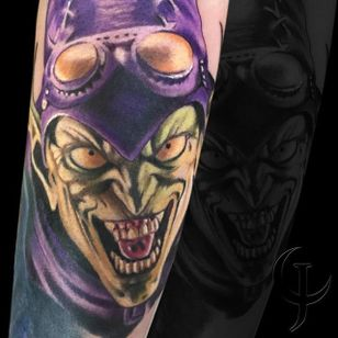 Green Goblin Tattoo by Chad Jacob #GreenGoblin #Portrait #ColorPortrait #PortraitTattoos #ColorRealism #ChadJacob #green #goblin #greengoblin