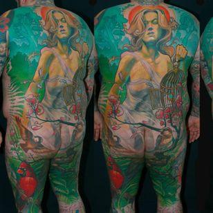 Unrreal back tattoo by Steve Moore #back #backtattoo #backpiece #largetattoos #bigtattoos #SteveMoore #seasons