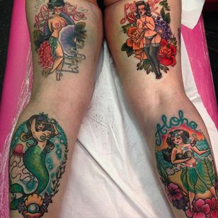 Set of big girl pin up tattoo by Hollie West. #HollieWest #pinup #plussize #bodylove #bodypositivity #pinuplady #biggirlpinup #hawaiian #mermaid #showgirl