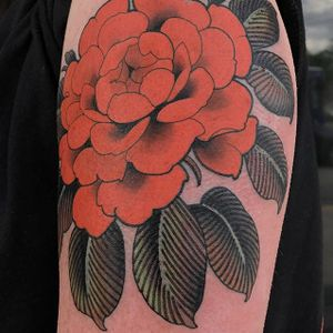 Peony by Ched Lenjer #ChedLenjer #traditional #flower #color #peony #tattoooftheday