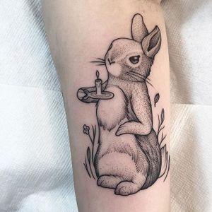 Rabbit Tattoo by Lawrence Edwards #rabbit #rabbittattoo #dotworkrabbit #dotwork #dotworktattoo #dotworktattoos #blackwork #blackworktattoo #blackworktattoos #dot #dottattoos #LawrenceEdwards
