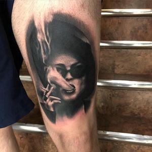My tumor, Marla tattoo by Mike Storey #mikestorey #movietattoos #blackandgrey #realism #realistic #film #Fightclub #MarlaSinger #smoking #smoke #cigarette #HelenaBonhamCarter #actress #tattoooftheday
