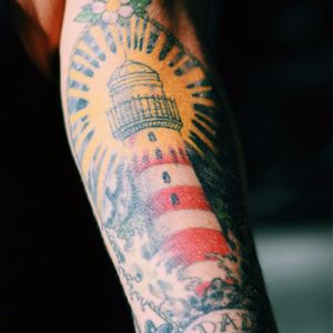 Tribute lighthouse tattoo for her dad #tribute #lighthouse #memorial #dad #dadtribute #traditional #TattooStreetStyle #StreetStyle #madridstreetstyle #blckwrk