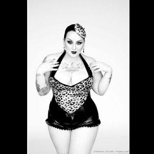 Kerosene shows off her chest tattoo Photo by Shannon Brooke #KeroseneDeluxe #plusmodel #tattooedlady #model #tattoomodel #fetish #pinup #ShannonBrookeImagery