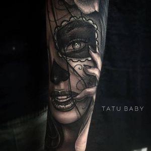 "Katherine ""Tatu Baby"" Flores combines sensuality with death in this sexy take on La Catrina. #blackandgrey  #LaCatrina #realism #traditional #TatuBaby"