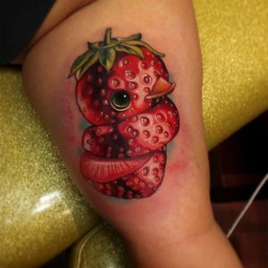 Strawberry rubber ducky tattoo by Steven Compton. #newschool #rubberduck #StevenCompton #rubberducky #fruit #strawberry