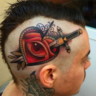 Bold and Beautiful Head Tattoo by Kike Esteras @Kike.Esteras #KikeEsteras #Neotraditional #Neotraditionaltattoo #Barcelona #Dagger #Heart #Eye