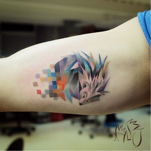 Hedgehog tattoo by Lesha Lauz. #pixel #hedgehog #animal #flower #leshalauz