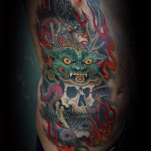 Death always comes by Matt Beckerich #MattBeckerich #color #Japanese #skull #fire #snake #shishi #oni #dragon #scales #pattern #smoke #death #demon #ghost #yokai #tattoooftheday