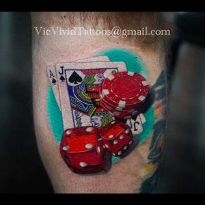 Sick realistic tattoo #VicVivid #realism #dice #cards