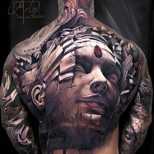 Temple remains tattoo by Arlo DiCristina #ArloDiChristina #besttattoos #realism #realistic #hyperrealism #photorealism #Buddhist #thirdeye #gem #jewel #temple #building #portrait #tattoooftheday