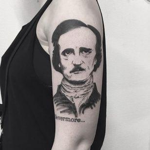 Edgar Allan Poe Tattoo by Johannes Folke #edgarallanpoe #blackwork #blackink #illustrative #JohannesFolke