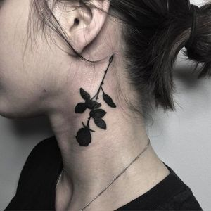Silhouette Rose on the neck Tattoo by Johnny Gloom @JohnnyGloom #JohnnyGloom #Black #Blackwork #BlackTattoo #Paris #silhouette #rose #necktattoo