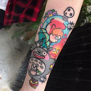 Studio Ghibli tattoo by Pikkacoolcool #Pikkacoolcool #studioghiblitattoo #color #newtraditional #anime #manga #movietattoo #Totoro #ponyo #forestspirit #sootsprite #calcifer #fire #umbrella #flowers #cute #nature