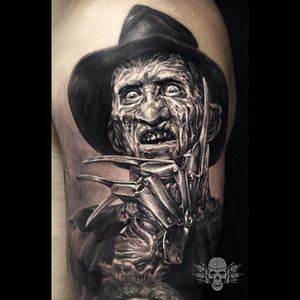 Freddy Krueger tattoo by Javier Antunez. #realism #blackandgrey #portrait #FreddyKrueger #NightmareOnElmStreet #JavierAntunez