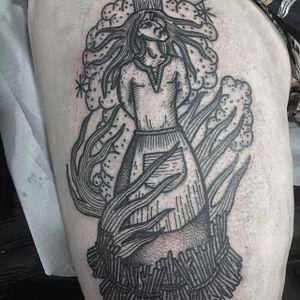 Burning witch tattoo by @kolahari #kolaharitattoo #black #blackwork #linework #thecirclelondonsoho #esoteric #witch