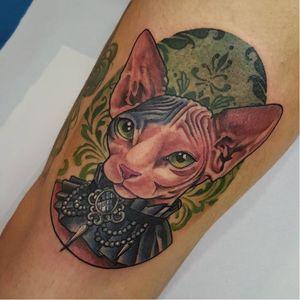 Gothic sphinx cat tattoo by Michela Bottin #MichelaBottin #sphinxcat #cat