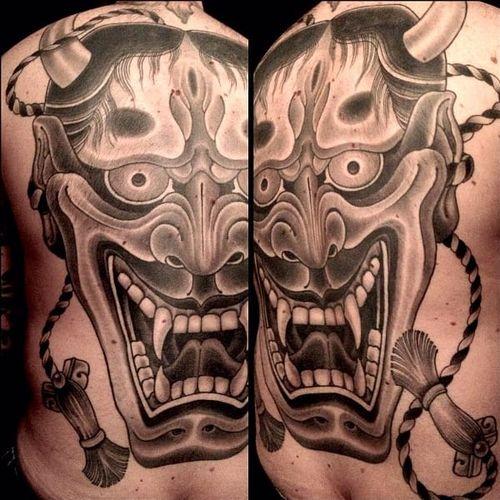 Rubendall's Hannyas all seem to scream out off of the skin. #backpiece #blackandgrey #Hannya #Japanese #MikeRubendall