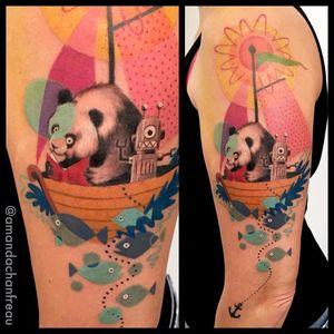Por Amanda Chanfreau #AmandaChanfreau #gringa #colorida #colorful #funny #divertida #fish #peixe #panda #robo #robot #barco #boat #anchor #ancora #sol #sun
